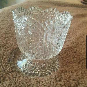Vintage Avon Glass Candy Dish Daisies & Diamonds